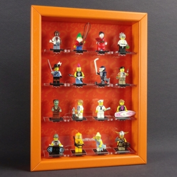 MinifigCase Vitrine für LEGO® Serie 4 (8804) mit 16 Figurenhalter *THE ORIGINAL* ORANGE