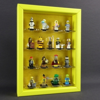 MinifigCase Vitrine für LEGO® Serie 10 (71001) MR. GOLD EDITION mit 17 Figurenhalter *THE ORIGINAL* GELB